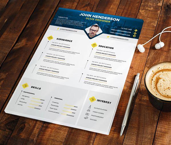 Free Psd  Professional Designer Resume Cv Template Psd