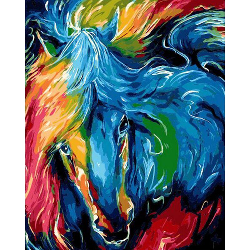 Pas Cher Cadeau De Noel Dessiner La Peinture Par Numeros Colore Cheval Visage Diy Peinture A L Colorful Horse Painting Horse Painting Wall Art Canvas Painting