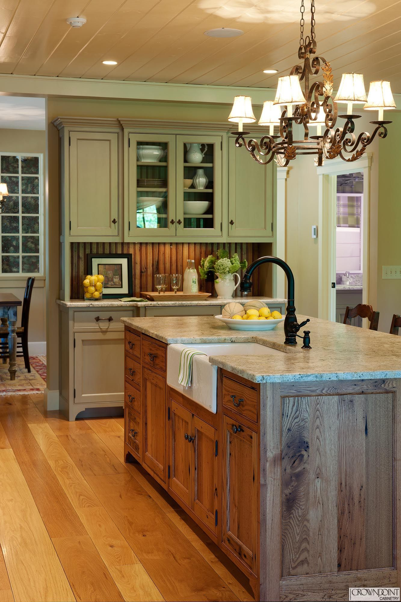 64 02 What S Here Island Wood Reclaimed Chestnut Finish Honey With Chocol Rustic Country Kitchens Kitchen Island With Sink French Country Kitchens