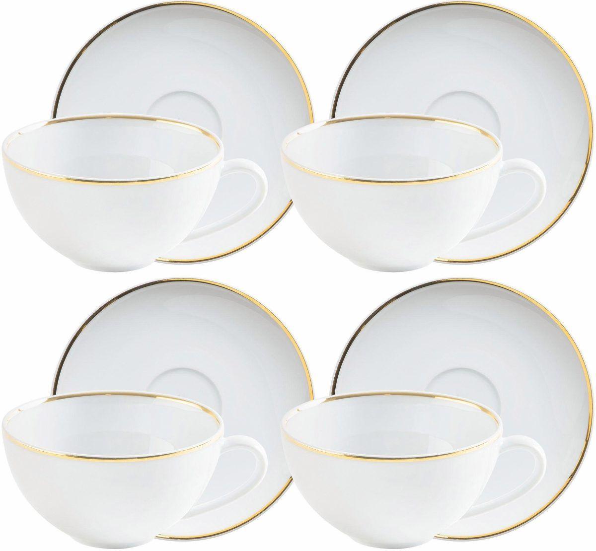 KAHLA Cappuccino/Tee-Tassen-Set weiß, »Line of Gold« Jetzt bestellen ...