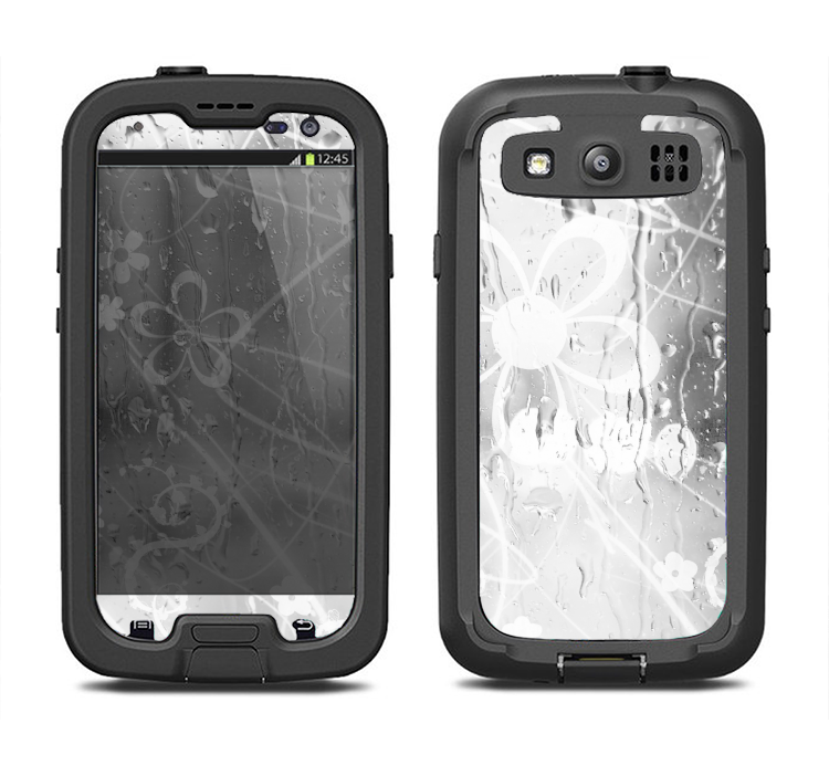 The Watered Floral Glass Samsung Galaxy S3 LifeProof Fre Case Skin Set