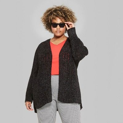 ecfc95bab6 Women's Plus Size Long Sleeve Chenille Open Cardigan - Wild Fable 1X Black
