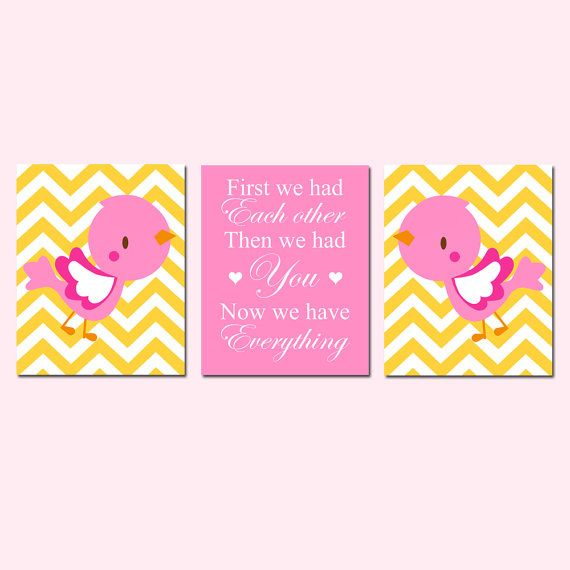 Baby Girl Nursery Art Chevron Baby Bird First We Had by Tessyla