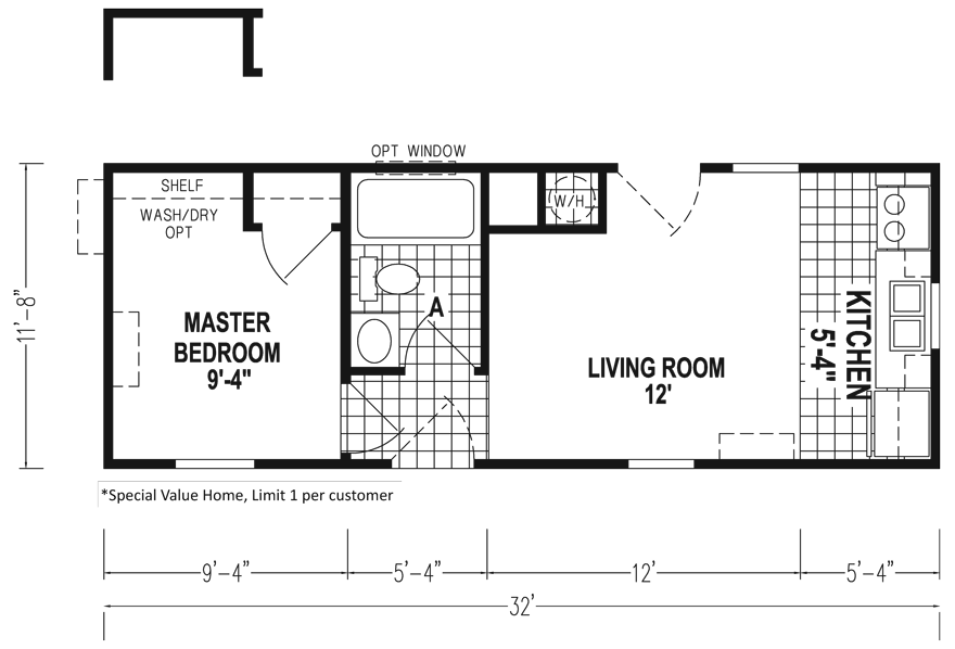 Thrifty Family of Plans 12 X 32 40 48 sqft Mobile Home