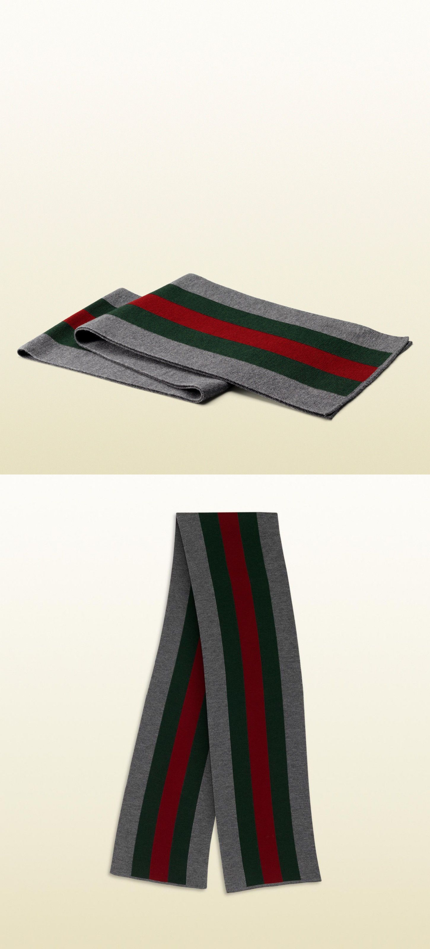 b0263e09d Scarves 52382: Gray Gucci Scarf Original Classic Stripe Green Red Wool  Winter Mens Womens Web -> BUY IT NOW ONLY: $148.99 on eBay!