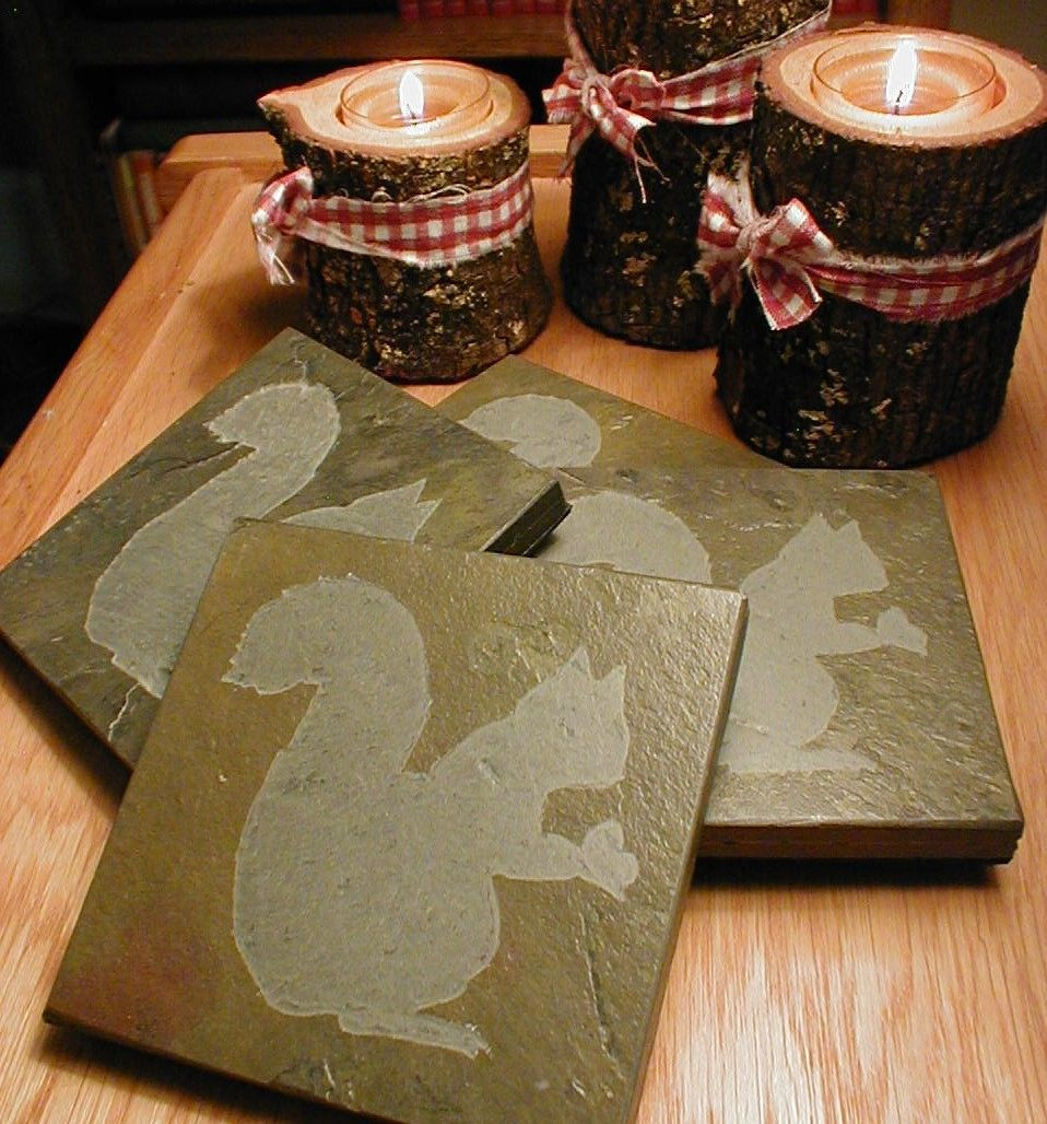 SQUIRREL COASTERS SET - Carved Natural Slate Stone - More Animal Coasters. $29.00, via Etsy.