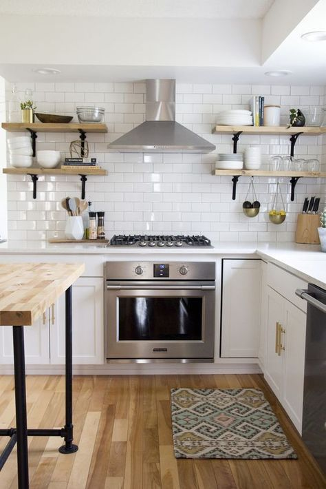 white subway tile || white cabinets with gold hardware | Kitchen ...