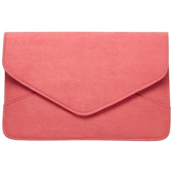 Dorothy Perkins Coral Suedette Clutch Bag (€15) ❤ liked on Polyvore featuring bags, handbags, clutches, unspecified, red purse, red clutches, coral clutches, coral purse and coral handbags