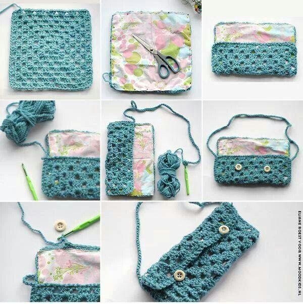Bolso ganchillo y tela Bag crochet plus fabric | Bolsos | Pinterest ...