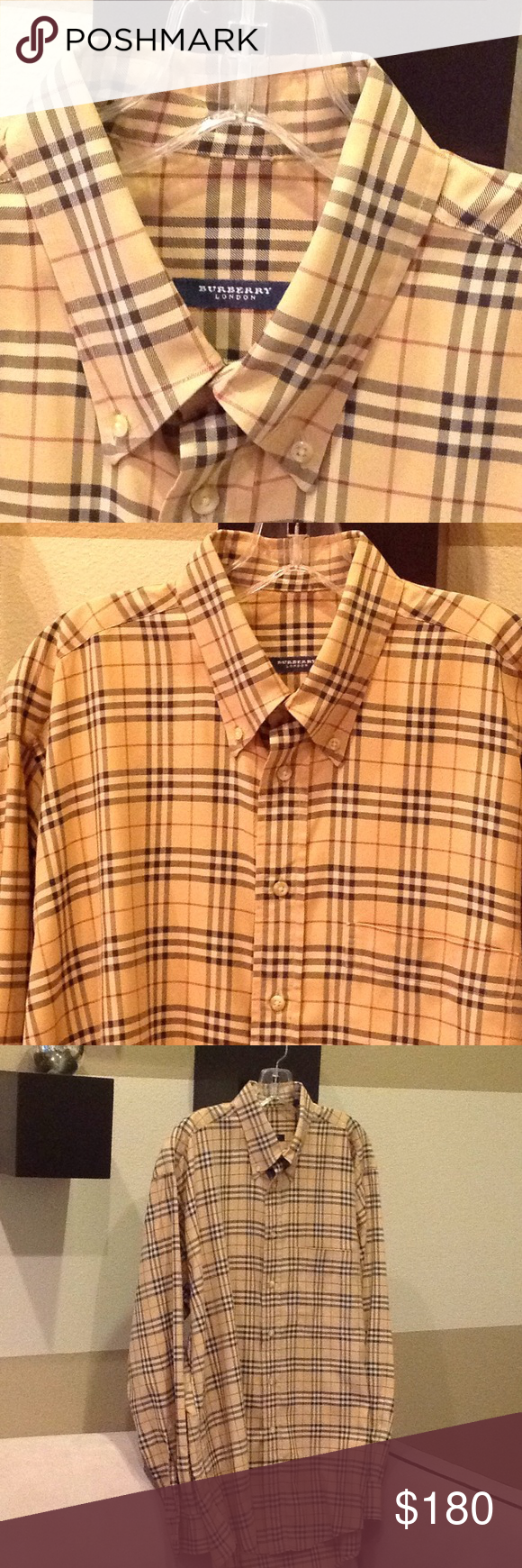 5ba8e811fa490 Size L. Burberry London men's long-sleeved nova check print shirt. Button  down collar and front button closure. Tan background with beige, black and  maroon ...