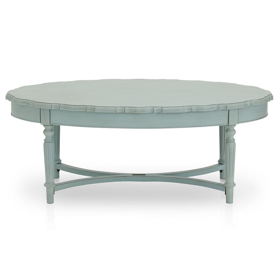 Scalloped Edges For Vintage Character Magnolia Home Pie Crust Coffee Table In Aqua Rowe Furniture Furniture Magnolia Homes [ 900 x 900 Pixel ]
