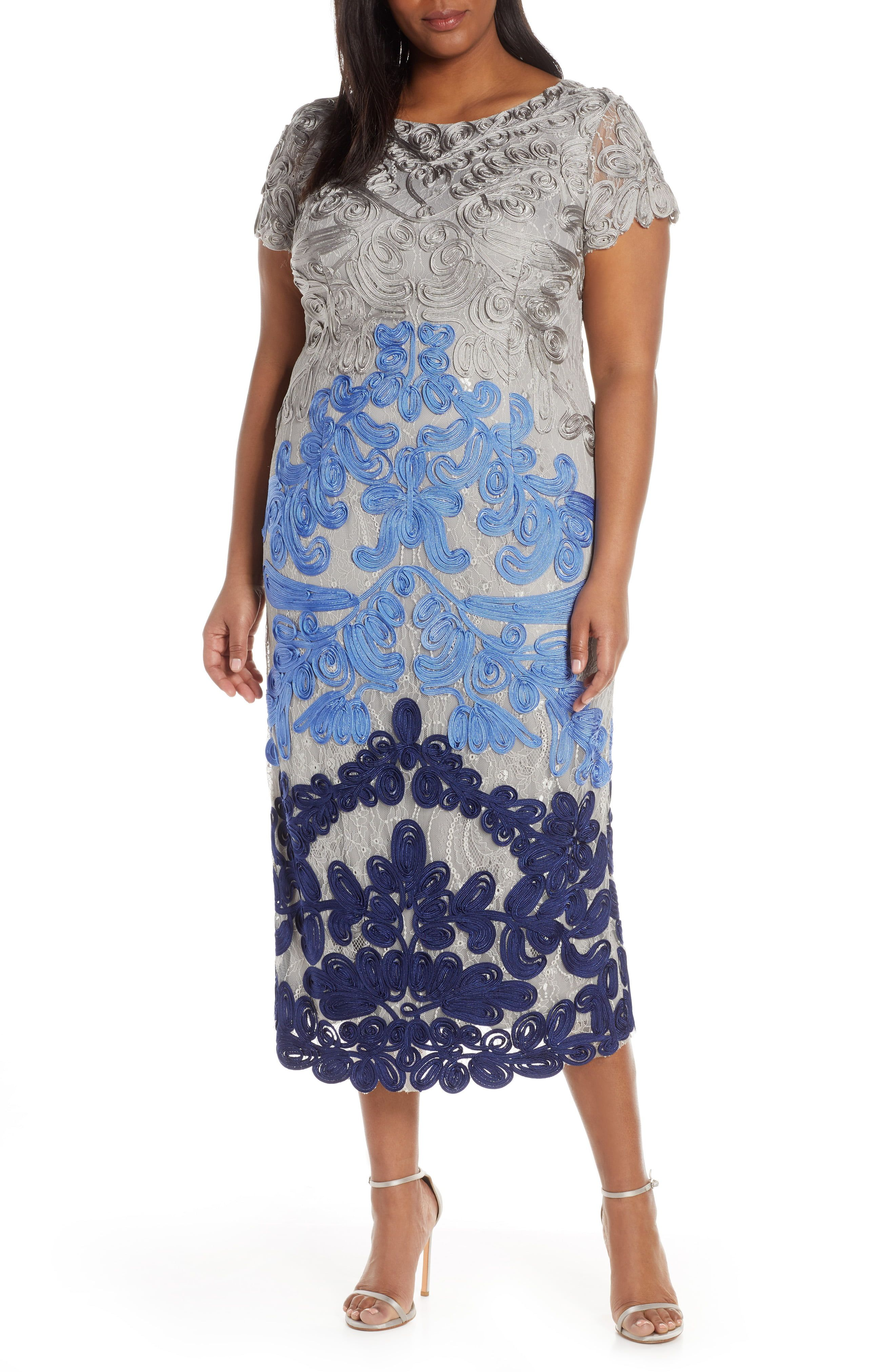 b78c5d3d1f6 Plus Size Women s Js Collections Two Tone Soutache Embroidered Midi Dress
