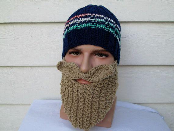 Crochet beard hat barbarian hat with beard viking by Ritaknitsall ...