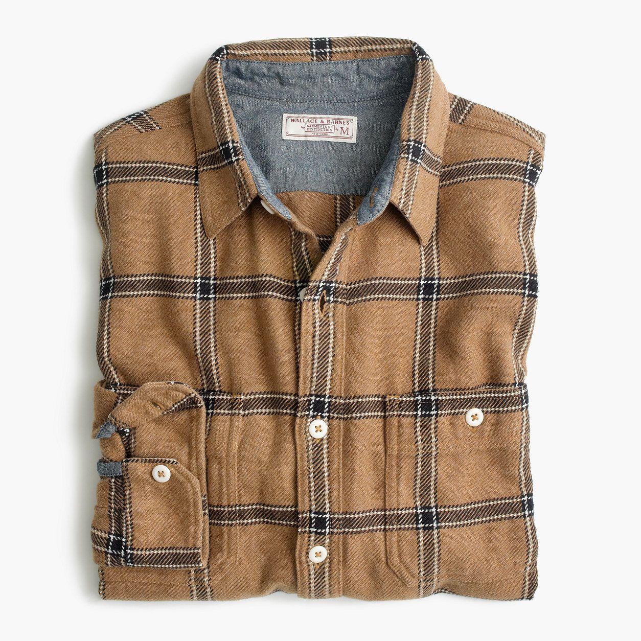 Wool cashmere flannel jacket  JCrew Mens Wallace u Barnes Heavyweight Flannel Shirt In Wheat