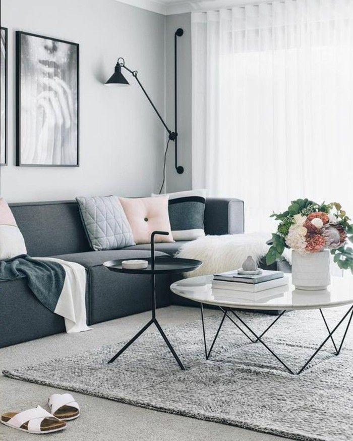 Decorar sal n tonos grises sof gris cojines mesa - Cojines de salon ...