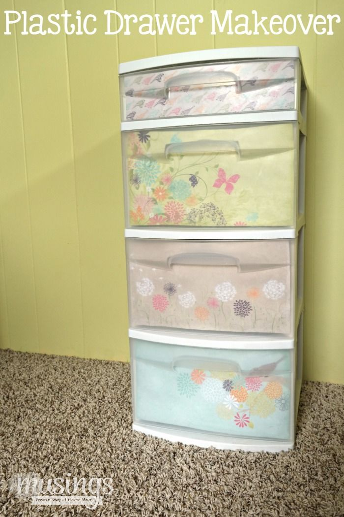 Plastic Drawer Makeover How To Make Plastic Drawers Better How To Decorate Plastic Storage Containers Decorate Plastic Drawers With Scrapbook Paper