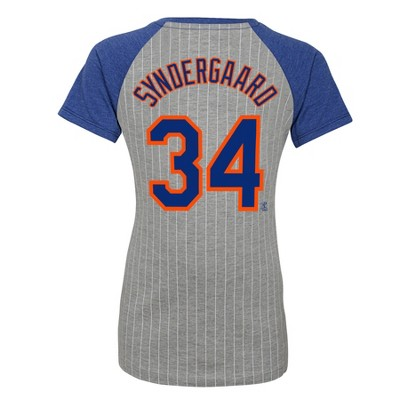 official photos beaf0 61c7f New York Mets Girls' Short Sleeve Pinstriped V-Neck Noah ...