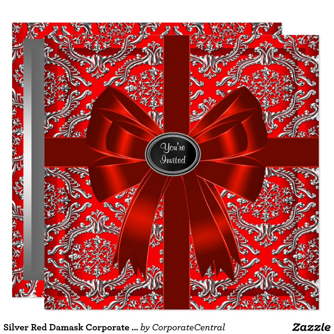 Silver Red Damask Corporate Christmas Party Card | Christmas Party ...