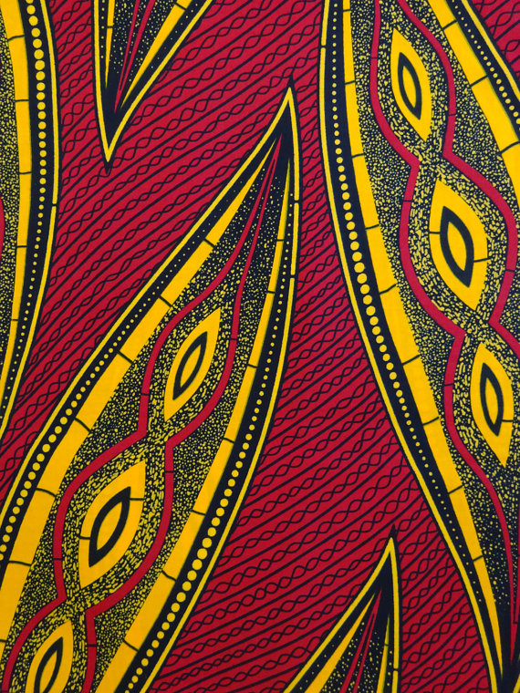 African print fabric sold by yard Red Yellow african pattern