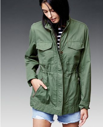 6974ef5be0738 Chaqueta informal de mujer Gap en verde oliva