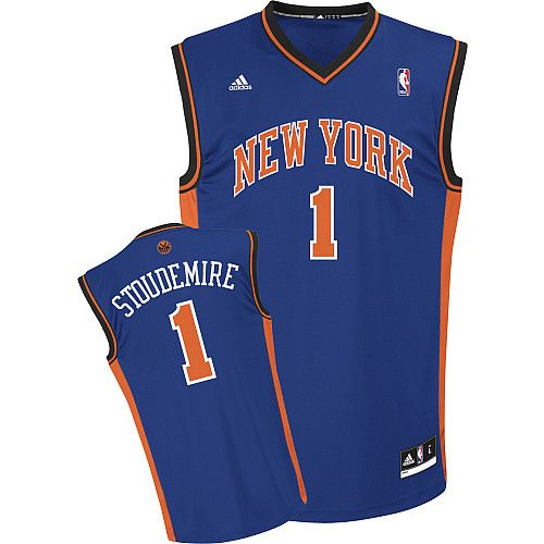 58af81917ffb Adidas NBA New York Knicks 1 Amar e Stoudemire New Revolution 30 Swingman  Road Blue Jersey