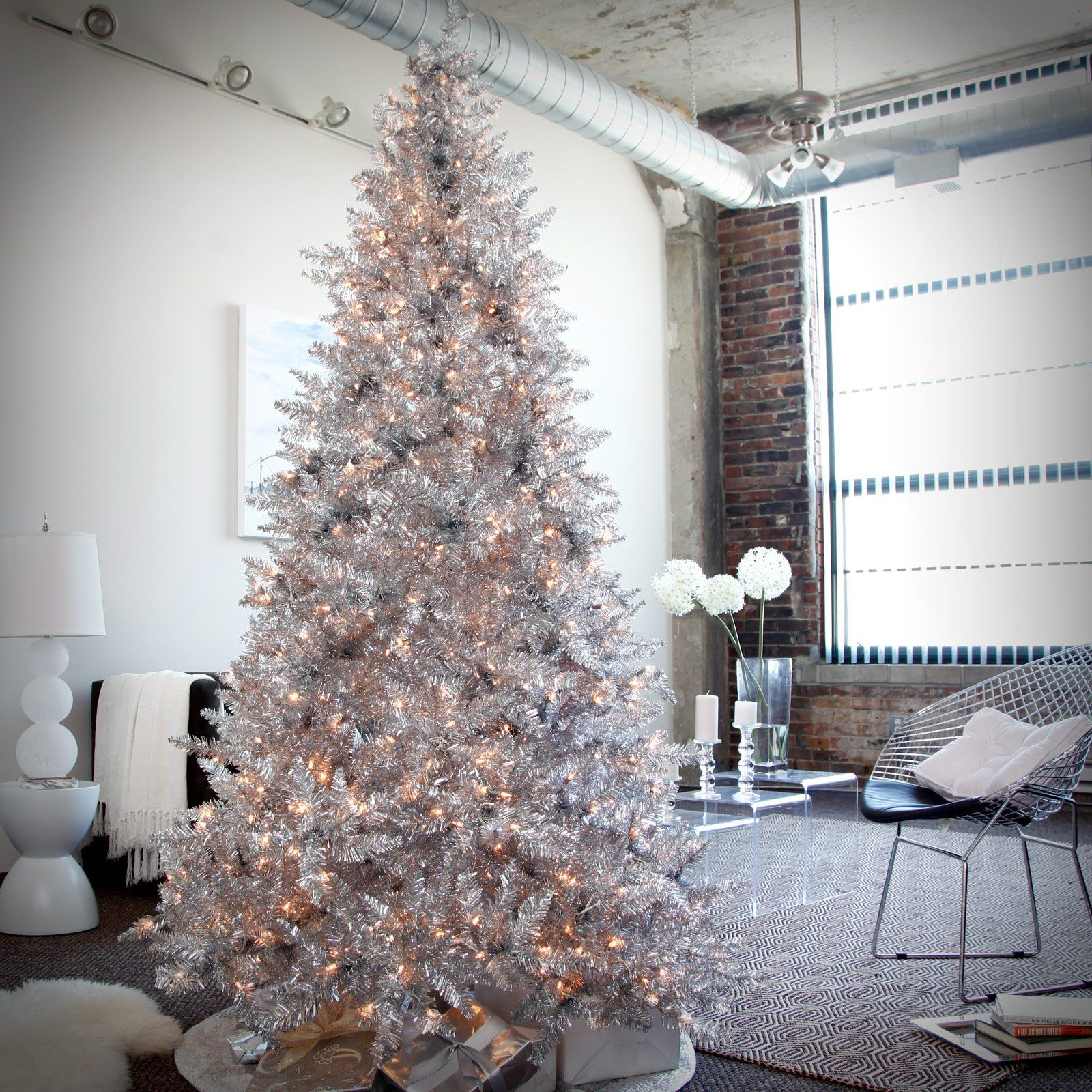 Silver Tinsel Christmas Tree With Color Wheel: Silver Christmas Tree