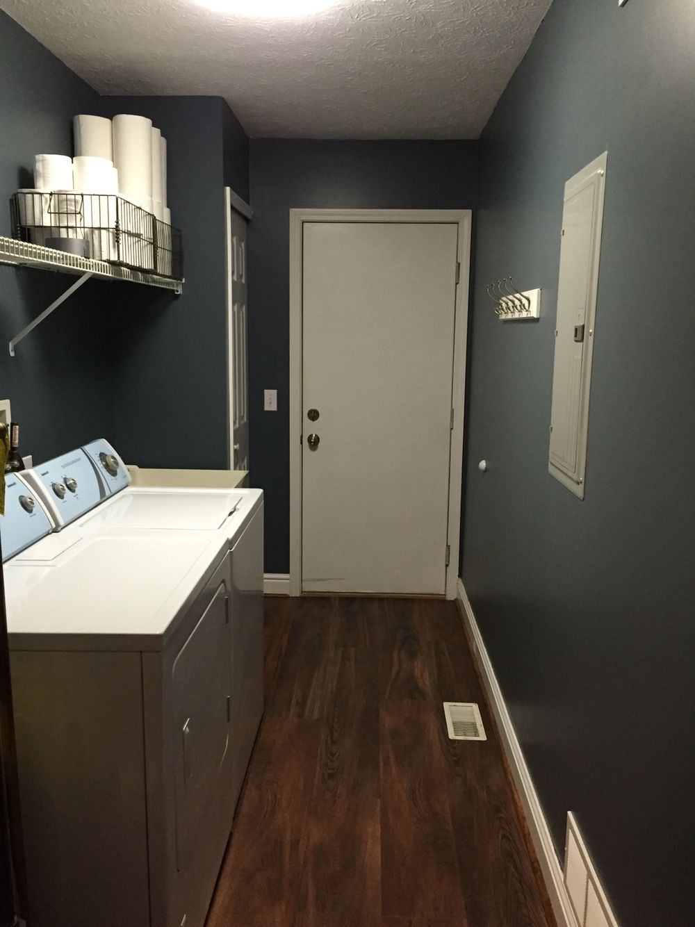 Blue slate paint in laundry room