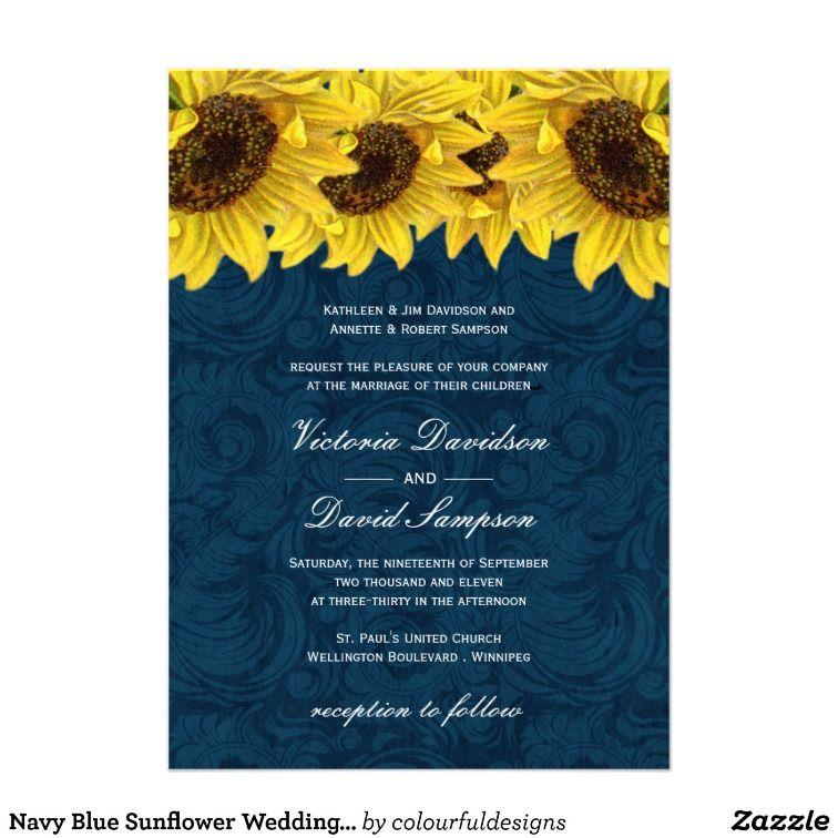 Navy Blue Sunflower Wedding Invitation 240 – Sunflower Wedding Invitations Kits