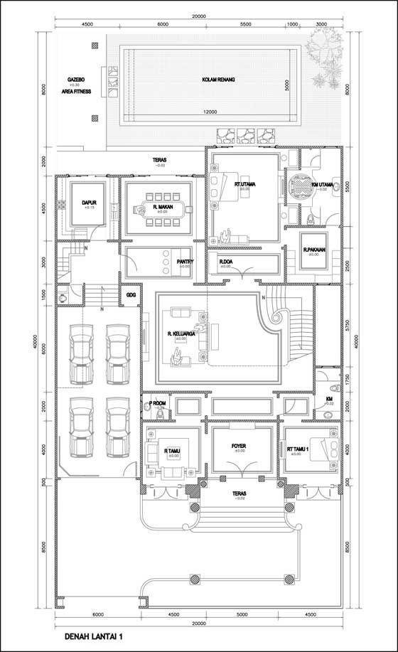 Contoh Denah Rumah Mewah  Lantai