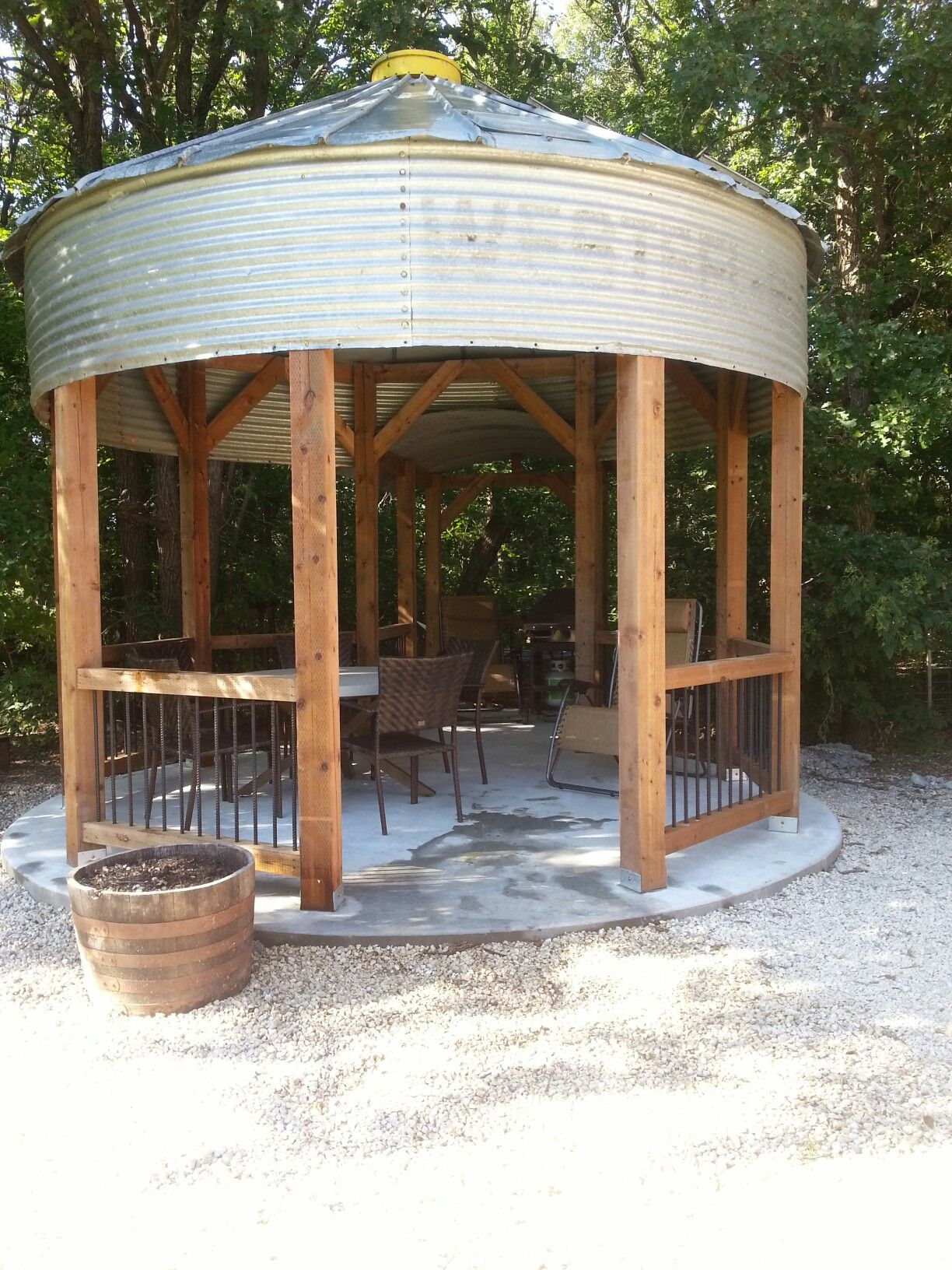 Rebar Grain Bin Gazebo We Finished Ours Last Week Looks