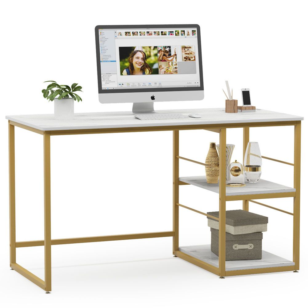 Free 2 Day Shipping Buy Tribesigns 47 Inches Computer Desk With 2 Tier Storage Shelves Faux Mar In 2020 Modern Home Office Desk Modern Office Desk Modern Home Office