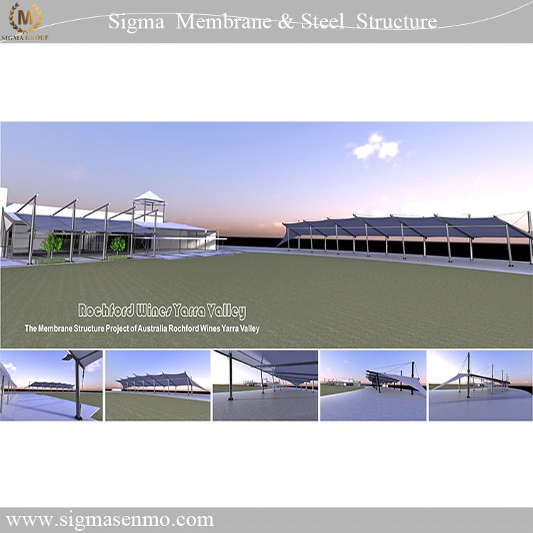 Architectural design steel with membrane construction fabric