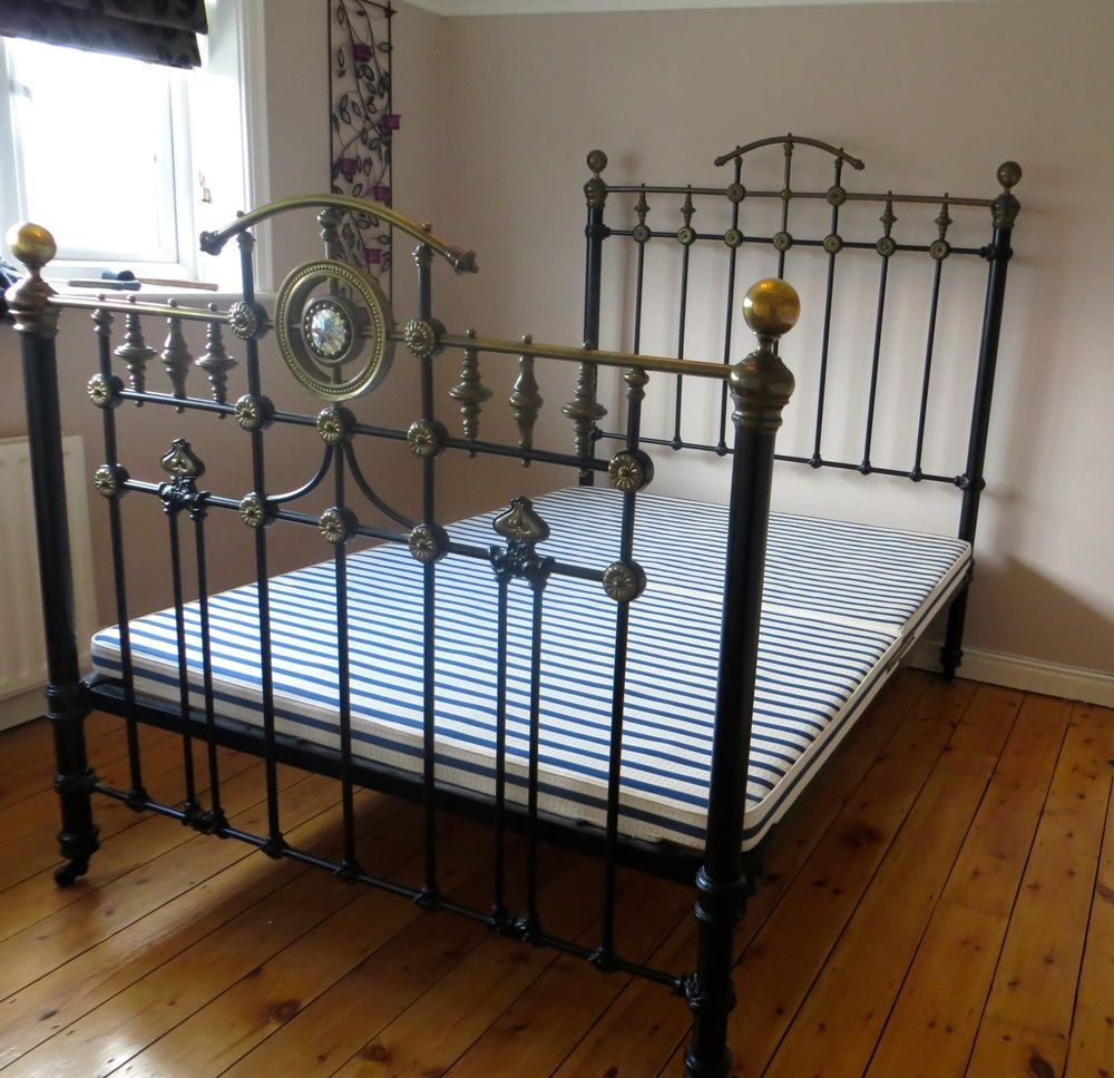 Antique Victorian Cast Iron Brass Double Bed Victorian Bedroom