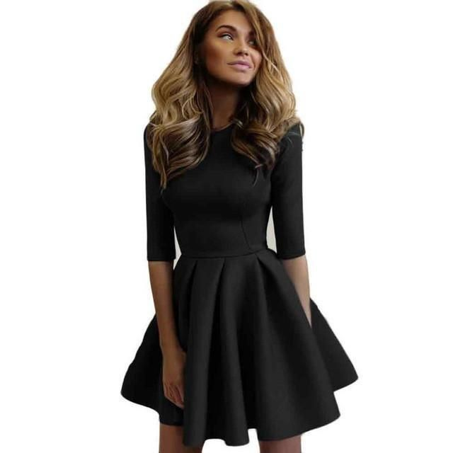 12f2fae13c81 Fashion Women Dress Ladies Three Quarter Sleeve Elegant Party Dress Style  Casual  Silhouette  Ball Gown Pattern Type  Solid Sleeve Length(cm)  Three Quarter  ...