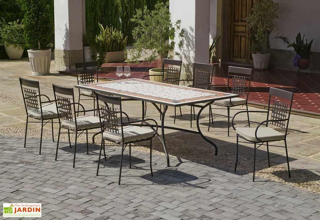 Salon De Jardin Acier Mosaique 8 Fauteuils 200 X 100 Cm Mobilier