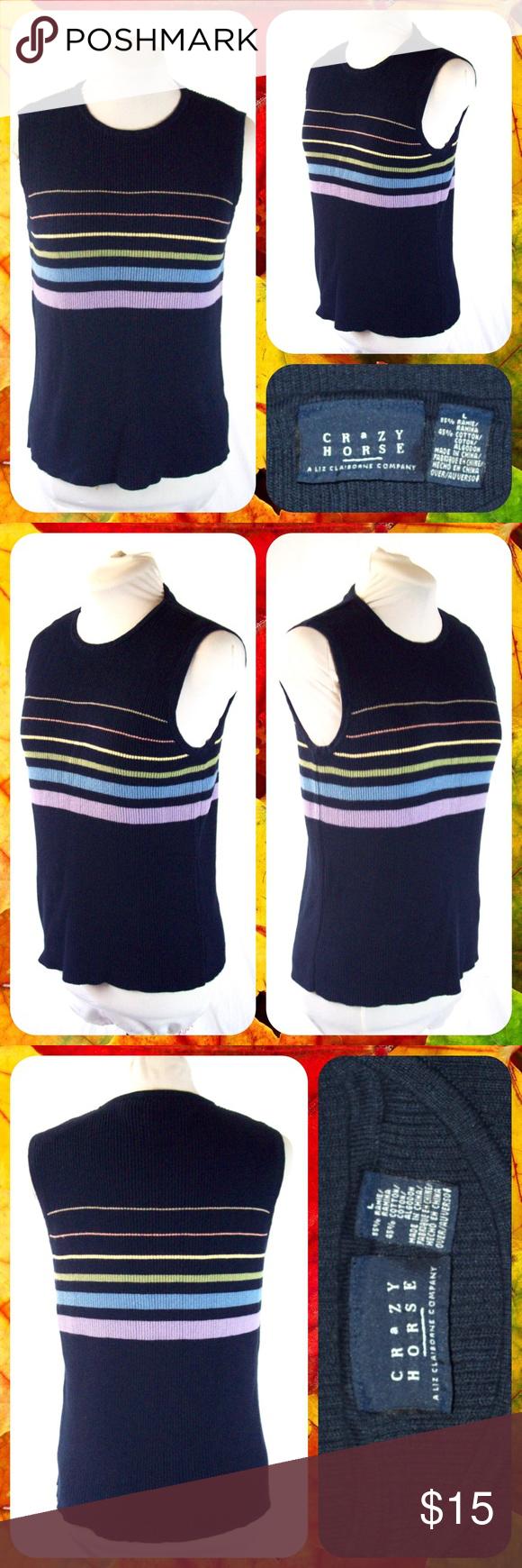 Striped Navy Blue Knit Sweater Vest Top Size L Crazy Horse/ Liz ...