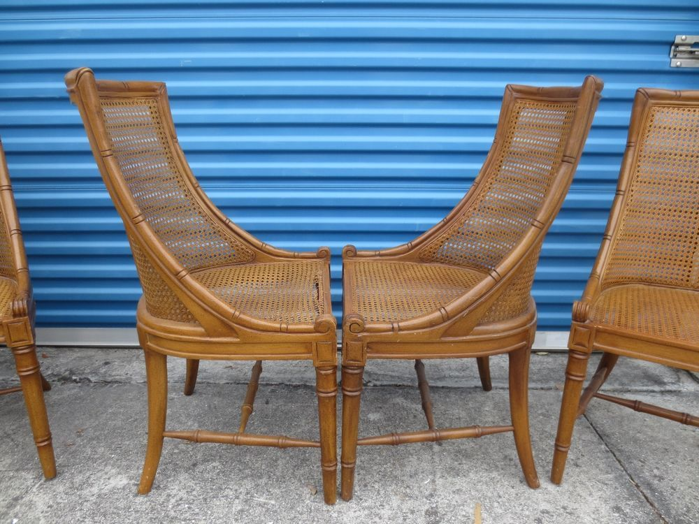 RARE Set  Dining Chairs Faux Bamboo Hollywood Regency Curved Cane