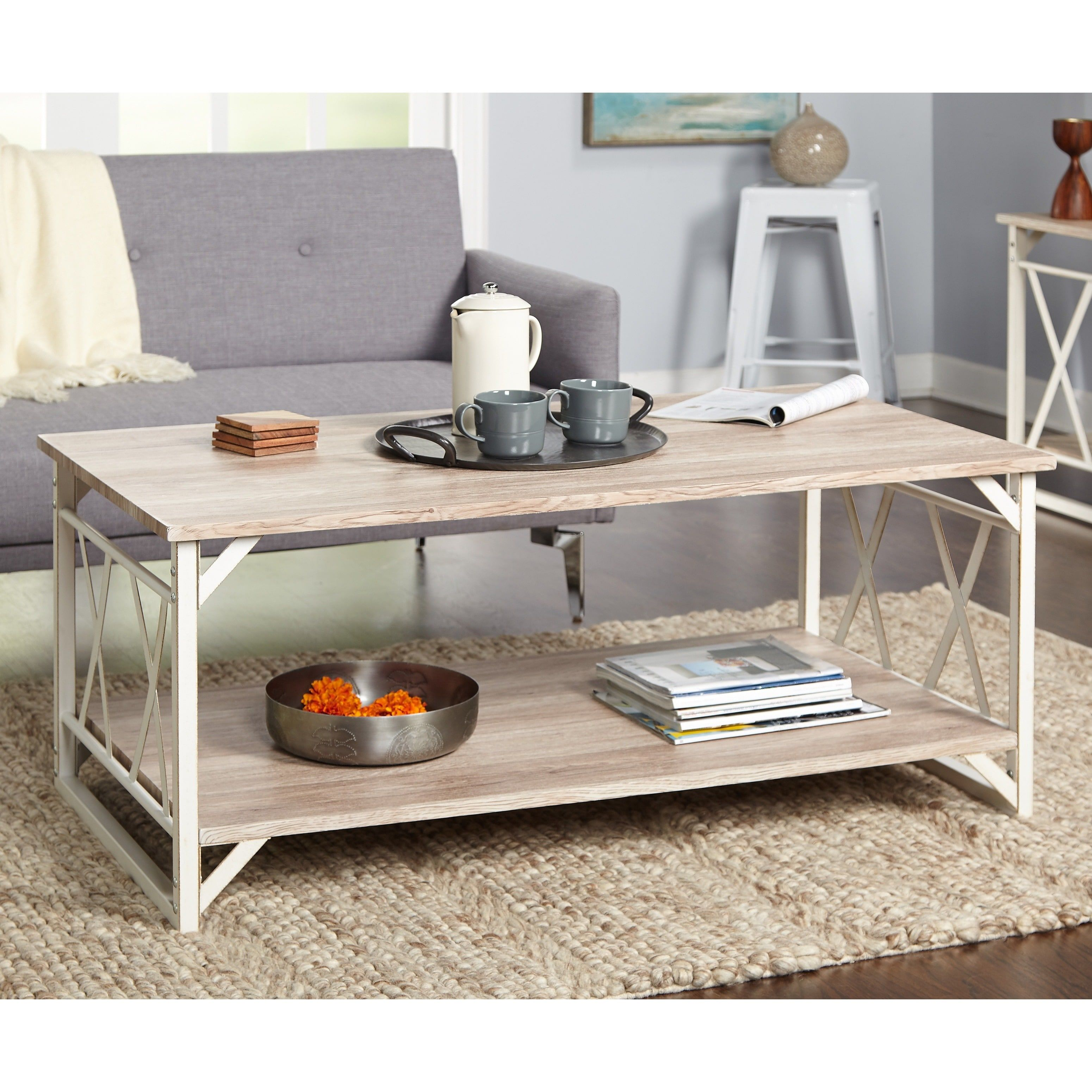 Simple Living Reclaimed Style Coffee Table With Double X Frame Coffee Table White Furniture Living Room Coffee Table Wood [ 3100 x 3100 Pixel ]