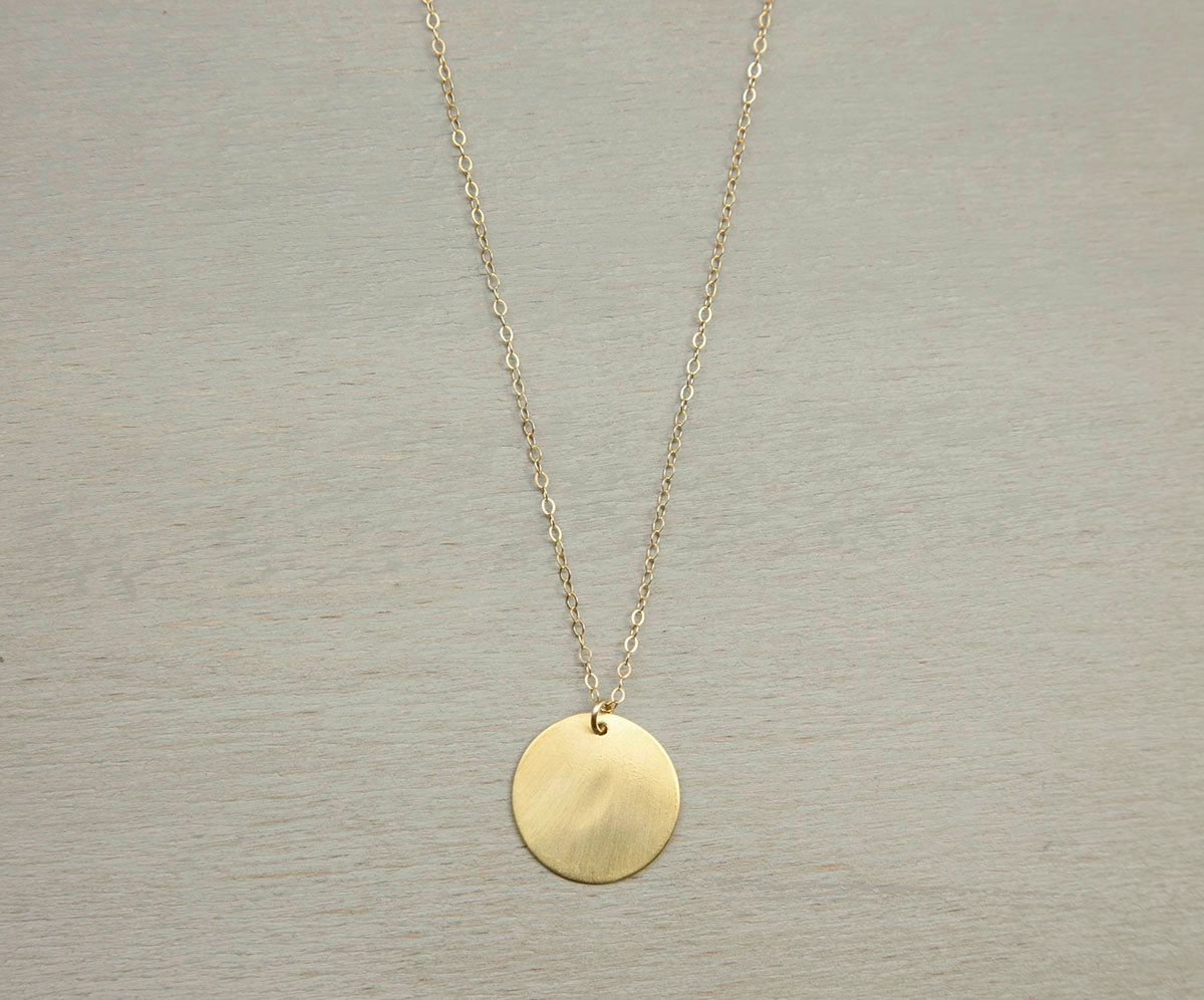 Large gold circle necklace simple everyday disc necklace large large gold circle necklace simple everyday disc necklace large disk necklace brushed gold circle pendant 14k gold fill chain ln216v mozeypictures Choice Image