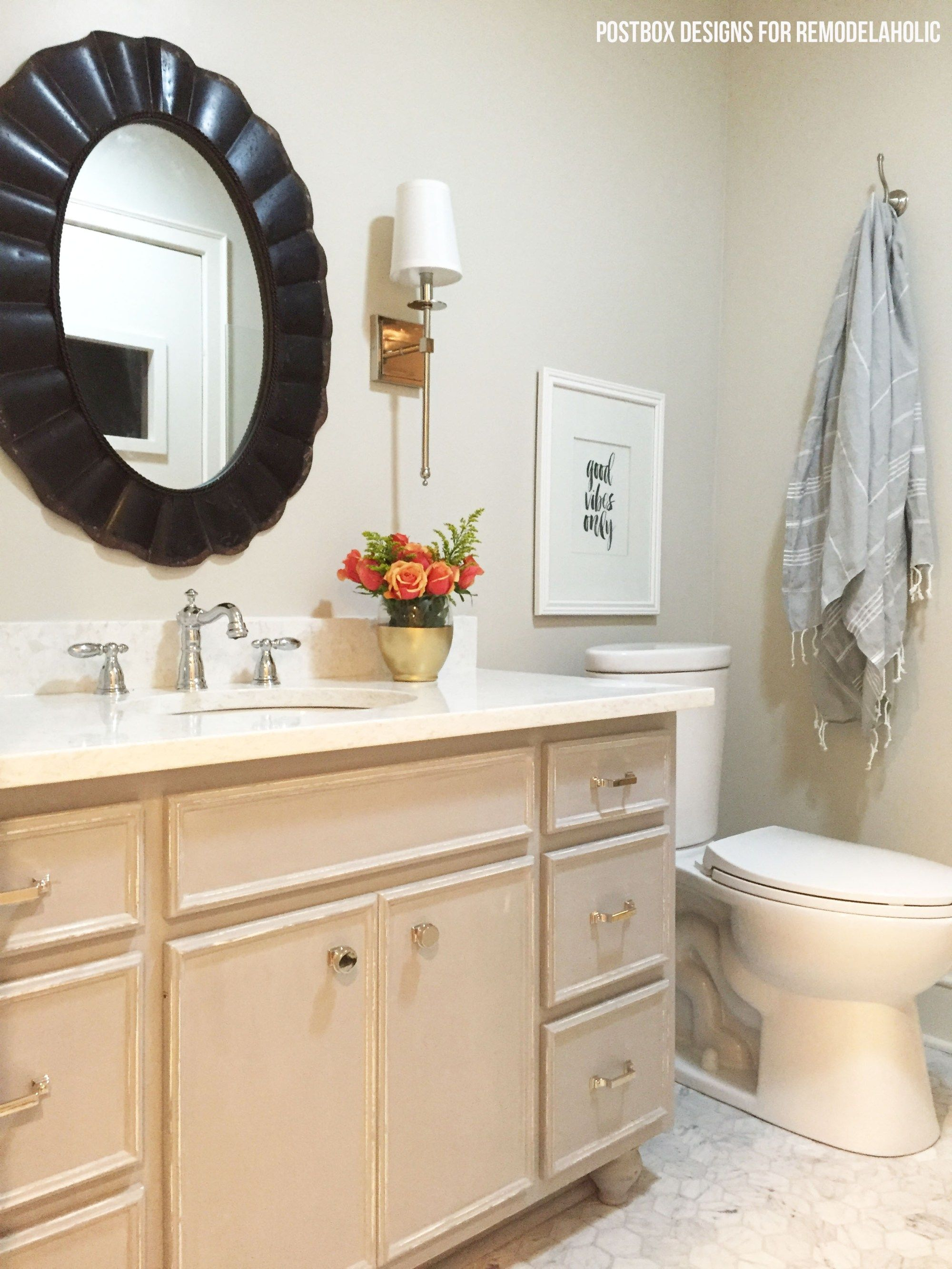 Chalk Paint bathroom vanity makeover and full bath renovation