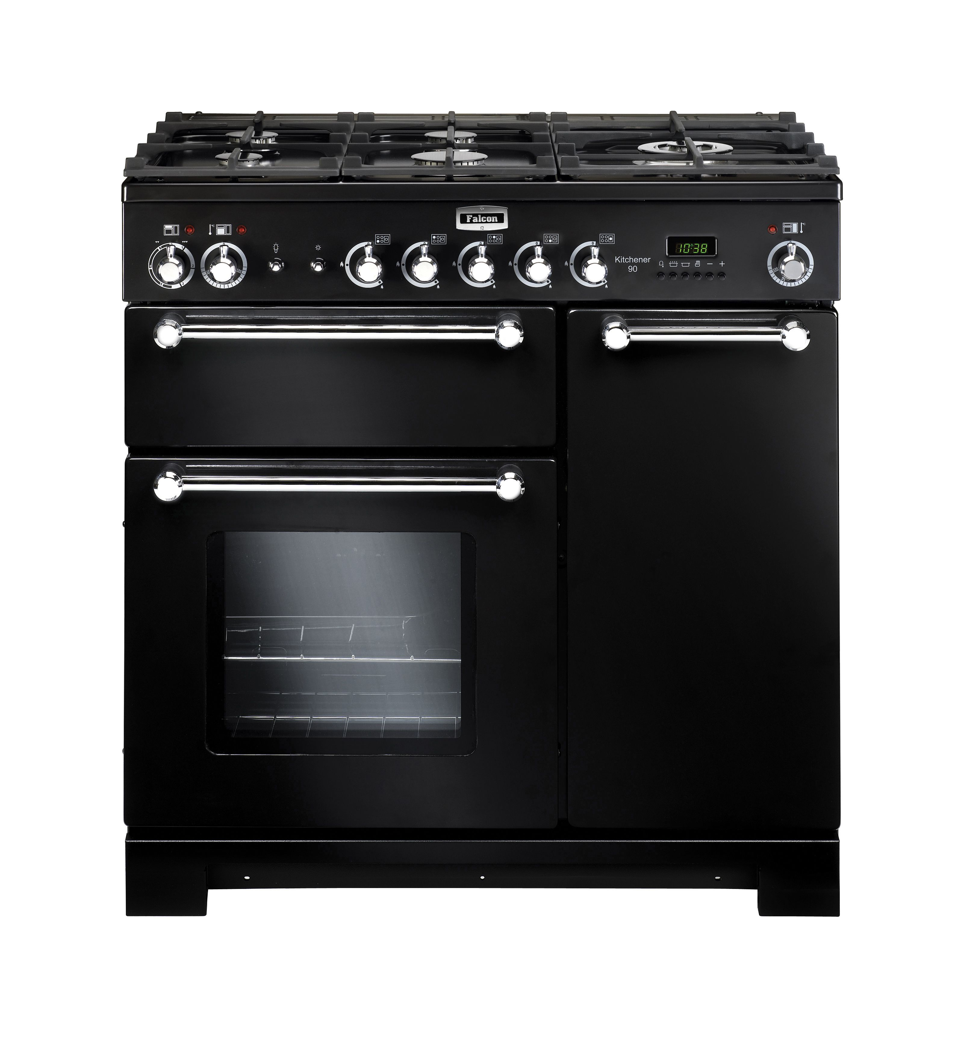 this handsome rangemaster kitchener 90 dual fuel range cooker in black is the perfect addition to any kitchen cook up a storm comprised of a double oven     kitchener 90cm upright cooker black  falcon  falconaustralia      rh   pinterest com