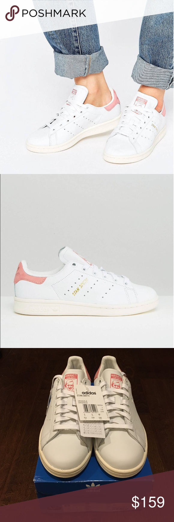 68e21c46b9ae Adidas originals Stan Smith light baby pink suede Brand new! 100%  authentic. White