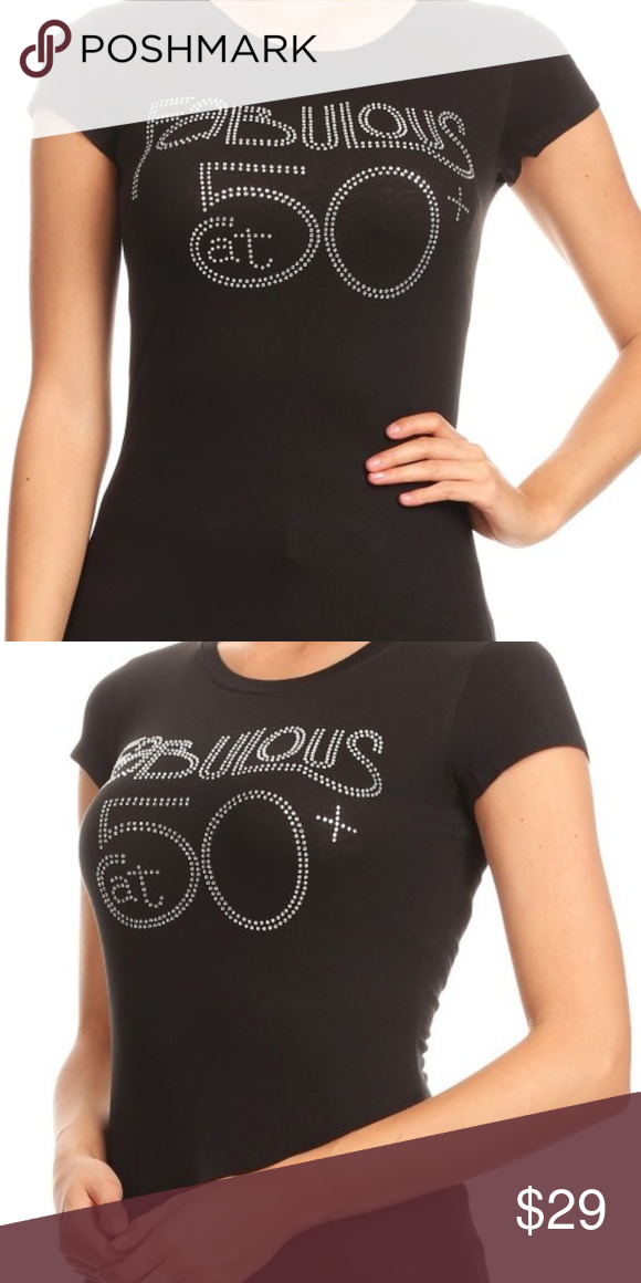328af287060 Plus Fabulous At 50+ Black T-shirt Plus size fabulous black t-shirt with  comfortable short sleeves and blinged out with