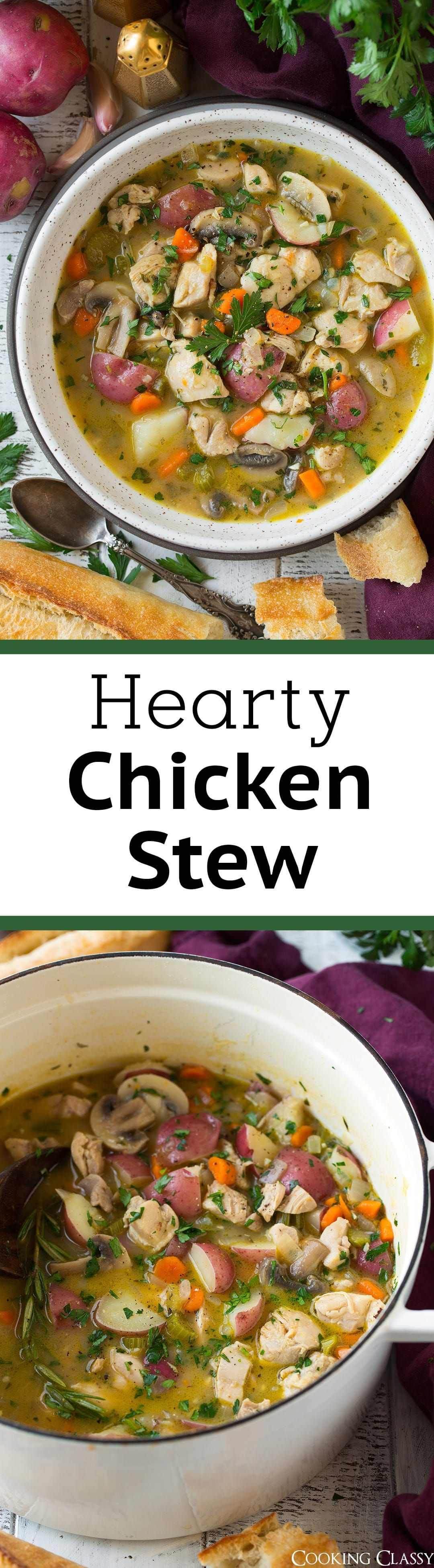 Stew - This homemade Chicken Stew is just what you need to cozy up to after a long day! It calls for simple ingredients that together create a delicious final product. This is a hearty recipe everyone will enjoy! via @cookingclassy