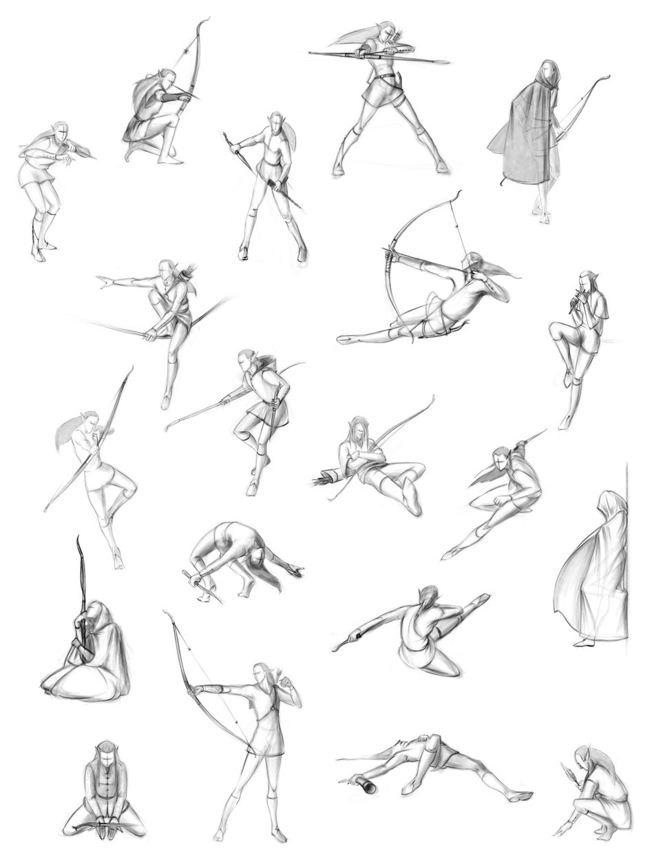 Archer in various poses