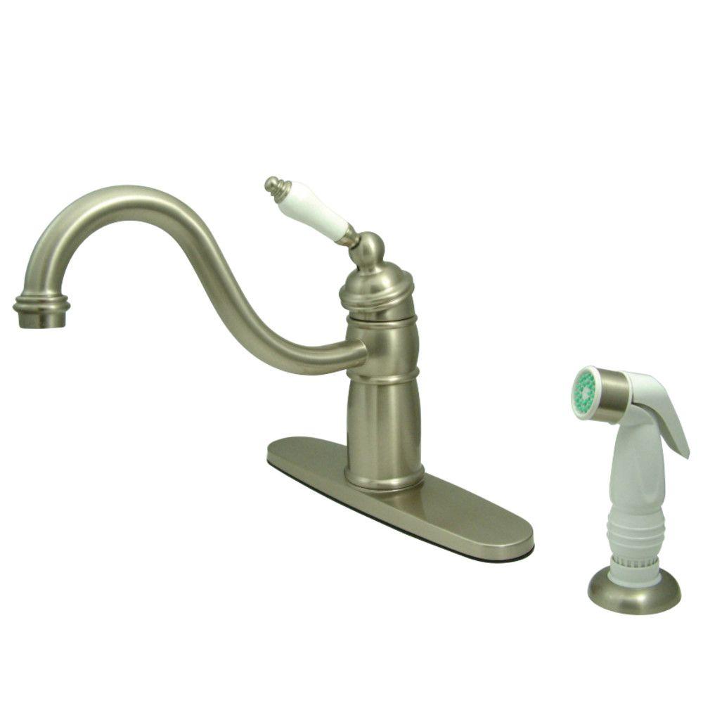 Kingston Brass KB1578PL Victorian Mono Block Kitchen Faucet with ...