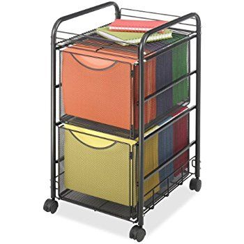 Amazon Com Halter Steel Mesh 2 Tier Rolling File Cart Bundle With 40 Hanging File Folders Black Office Products File Carts Safco Mobile File Cabinet