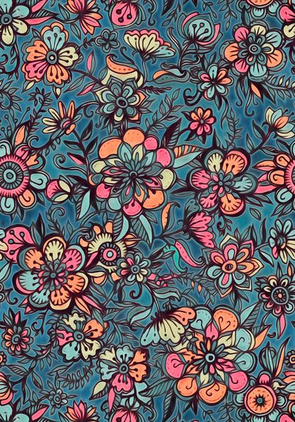 Sweet Spring Floral - melon pink, butterscotch & teal Framed Art Print
