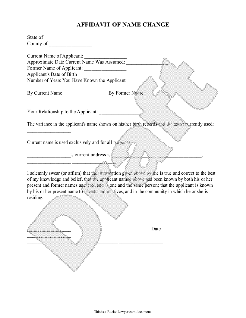 Sample Affidavit Of Name Change Form Template  Legal Documents