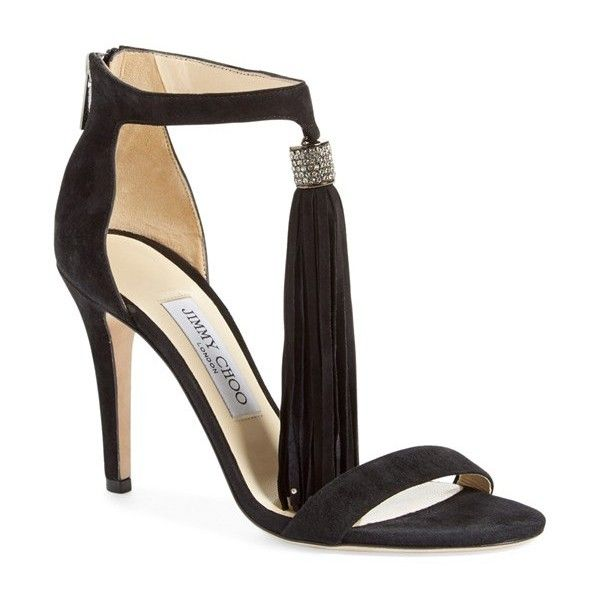 """Jimmy Choo 'Viola' Ankle Strap Sandal, 4"""" heel (€880) ❤ liked on Polyvore featuring shoes, sandals, black suede, black sandals, black stilettos, tall sandals, jimmy choo sandals and sparkle shoes"""